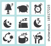 sleep time icons set | Shutterstock .eps vector #185177225
