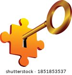 golden key and puzzle eps 10 | Shutterstock .eps vector #1851853537