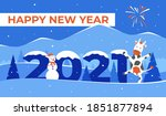 happy new year 2021 greeting... | Shutterstock . vector #1851877894