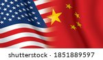 usa and china waving flags...   Shutterstock .eps vector #1851889597