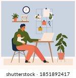 young man character combining... | Shutterstock .eps vector #1851892417