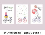 Cute Postcards With Bike And...