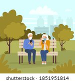 elderly woman and man in masks... | Shutterstock .eps vector #1851951814