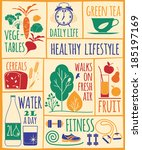 healthy lifestyle icons set  | Shutterstock .eps vector #185197169
