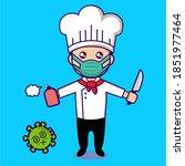 vector chef against corona virus   Shutterstock .eps vector #1851977464