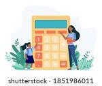 woman explaining girl how to...   Shutterstock .eps vector #1851986011