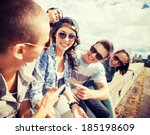 summer holidays and teenage... | Shutterstock . vector #185198609