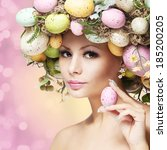 easter woman. spring girl with... | Shutterstock . vector #185200205