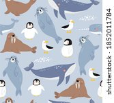 vector with cute arctic animals ... | Shutterstock .eps vector #1852011784