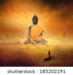 lake of buddhism  conceptual... | Shutterstock . vector #185202191