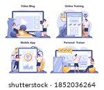 fitness trainer online service... | Shutterstock .eps vector #1852036264