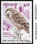 Small photo of MONACO - CIRCA 1993: A stamp printed by MONACO shows Boreal Owl (Aegolius funereus), circa 1993.