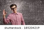 young funny man in glasses... | Shutterstock . vector #185204219