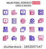 video and movies glyph icon set....