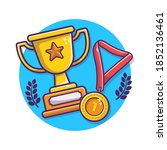trophy and gold medal vector... | Shutterstock .eps vector #1852136461