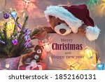 Christmas Card With Teddy Bear  ...