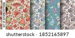 a set of patterns with autumn... | Shutterstock .eps vector #1852165897