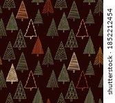 christmas fir trees in a... | Shutterstock .eps vector #1852212454