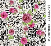 animal skin and roses. seamless ... | Shutterstock .eps vector #185221499