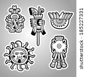 Maya objects. Black and white graphic image of the Maya. Maya designs. Maya design elements.