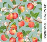 autumn apple seamless pattern.... | Shutterstock .eps vector #1852292134