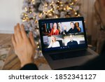 christmas day virtual meeting... | Shutterstock . vector #1852341127