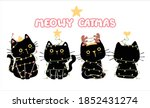 Set Of Funny Black Cat Merry...
