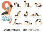 infographic 9 yoga poses for... | Shutterstock .eps vector #1852493641