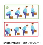 lifting box correct and... | Shutterstock .eps vector #1852499074