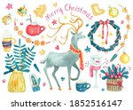 watercolor big set with... | Shutterstock . vector #1852516147