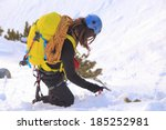 climber descends snowy gully in ... | Shutterstock . vector #185252981