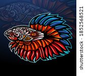betta fish zentangle arts... | Shutterstock .eps vector #1852568521