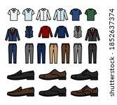 men interchangeable wardrobe...   Shutterstock .eps vector #1852637374