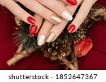Female Hand With Christmas Nail ...