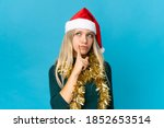woman with christmas hat... | Shutterstock . vector #1852653514