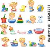 vector illustration of baby... | Shutterstock .eps vector #185268395