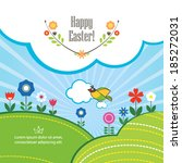 easter spring background with... | Shutterstock .eps vector #185272031
