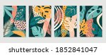 botanical wall art vector set.... | Shutterstock .eps vector #1852841047