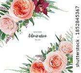 vector beautiful floral wedding ... | Shutterstock .eps vector #1852845367