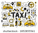 taxi set in the doodle hand... | Shutterstock .eps vector #1852855561