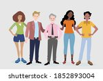 group of teenager with old man  ... | Shutterstock .eps vector #1852893004