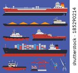 sea ships flat icons. cargo... | Shutterstock .eps vector #185290214