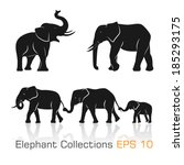Set Of Black   White Elephants...