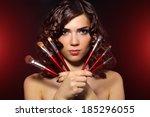 beautiful girl with makeup... | Shutterstock . vector #185296055