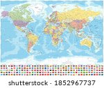 political world map and flags   ... | Shutterstock . vector #1852967737