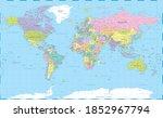 world map vintage political   ... | Shutterstock . vector #1852967794