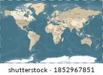 world map vintage political   ... | Shutterstock . vector #1852967851