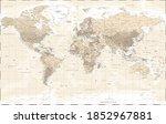 world map political   vintage... | Shutterstock . vector #1852967881