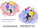 isometric video conference.... | Shutterstock .eps vector #1853091751