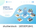 isometric video conference....   Shutterstock .eps vector #1853091841